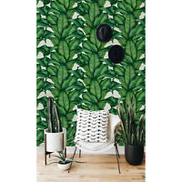 Non-woven wallpaper Botanical Leaves | Exotic Pattern | Green wall mural