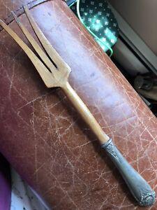 """Mid-Century STERLING Handle & TEAK Wood  Serving Meat Fork 11"""""""