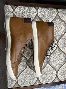 Coach Men's C214 Hi Top US 13 D Tan Leather Sneakers Shoes