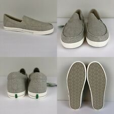 Slip on Loafer Sanuk Sideline Checked Linen Men's Casual Shoes Oatmeal Size 10