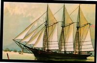 Vintage Postcard - Boats & Ships - Three Masted Schooner Unposted #2841