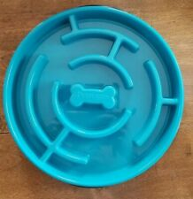 3-cup Slow Feed Bowl TEAL Non-slip Ridged Pet Dog- No More Wolfing Down Food!