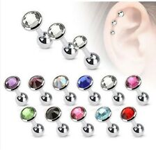 Cartilage Upper Ear Stud - Tragus Helix Bar Top Ear Ring - Flat Gem Star Earring