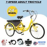 "Pro 24"" Adult Tricycle 3-Wheel 7 Speed Bicycle Trike Cruiser w/ Lock Basket New"