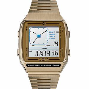 Timex Unisex Q Reissue Digital LCA 32.5mm Stainless Steel Bracelet Watch Gold...