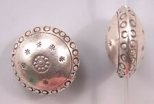 Karen Hill Tribe Silver Lentil Bead T237 (1) Round Puffy Large 18mm