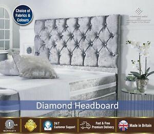 Diamond Crushed Velvet Headboards, Divan Headboard Single, Double, King Size