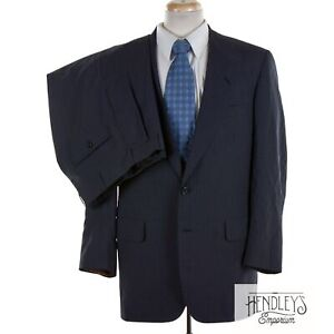 OXXFORD Suit 41 L in Navy Blue Pinstripe 100% Wool Single-Vented USA