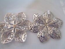 4 x silver tone filligree flower embellishments 6cm across