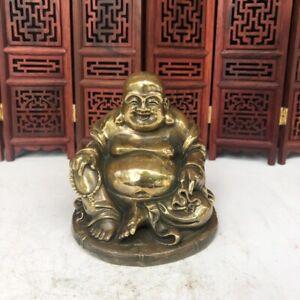 Decor Chinese copper bronze Carved Happy Laugh Maitreya Buddha Money bag Statue