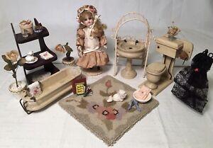 Antique Miniature Dollhouse Diorama Furniture 4 Bisque Mignonette Doll Bathroom