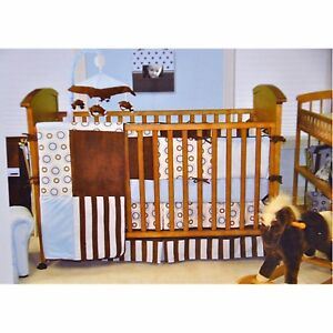 Trend Lab Crib Bedding - Blue and Brown Blueberry