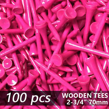 """X 100 PINK NEW GOLF TEE NATURAL WOODED TEES 2 3/4"""" 70MM  LONG LENGTH"""