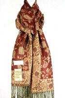 DG Pashmina Scarf Warp Paisley Beige Rust Silk Cashmere 011