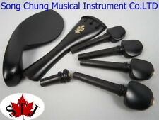 Music Instrument parts,5 sets of 4/4 violin ebony fittings,very beautiful carved