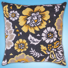 Needlepoint Kit ~ Design Works Yellow Floral on Black Picture / Pillow #DW2559