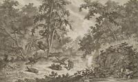 Johann Elias Ridinger (1698-1767), Waldstück mit Jagdszene, Radierung
