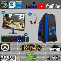 Fast Gaming PC Computer Bundle Intel Quad Core i5 Windows 10 1TB 16GB 2GB GT710