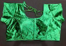 "54"" XXXL Saree Blouse Indian Bollywood Sari Choli Leaf Green Velvet Top AA20"