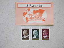 3 x POSTAGE STAMPS REPUBLIQUE RWANDAISE 1975 CENTENAIRE DE VATICAN I POPES