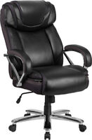 BLACK LEATHER 500LB CAPACITY BIG MANS TALL DOUBLE PADDED HOME OFFICE DESK CHAIRS