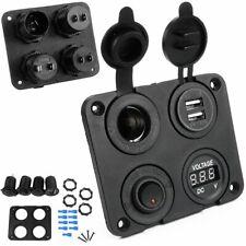 Interrupteur de panneau de voiture Allume-cigare 2x chargeur USB prise voltmètre
