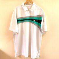 NIKE GOLF Dri-Fit Men's Polo Shirt XXL White Short Sleeve Green  Black stripe