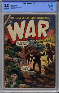WAR COMICS #22 CBCS 3.0 - VERY RARE ATLAS WAR - ONLY 4 on CGC - 1953