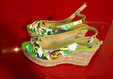 Nine west funky wedge shoes size 7 Rope wedge with lemon lime watermelon design