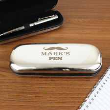 Personalised Moustache Pen and Box Set Gift For Men Dads Birthday Father's Day