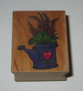 Watering Can Rubber Stamp Flowers Growing Heart Wood Mounted #2