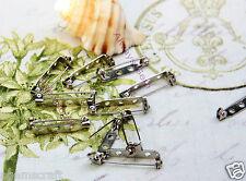 15 Silver tone Brooch Pin Backs Safety Locks 25mm Craft Jewellery Tags Craft new