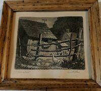 """Kenneth Reeve """"Morning Bath"""" 4""""x5"""" Aquatint Etching Framed in Wormy Chestnut"""