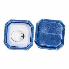 Blue Octagon Velvet Ring Box Wedding Bridal For Detail Photography and Storage