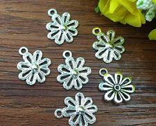 10pcs flower Tibetan Silver Bead charms Pendants DIY jewelry 20x15mm
