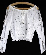 Blusa bianca puro cotone in pizzo sangallo tg 42 White cotton eyelet lace top