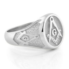 NEW Mens Sterling Silver 925 Masonic Ring Freemason Master Mason High Quality