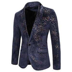 Men's One Button Nightclub Costume Blazer Jacket Long sleeve Slim Fit Printed L
