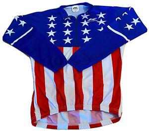 Kucharik NEW Cycling Jersey Long Sleeve Shirt M American Flag Made USA Bicycle