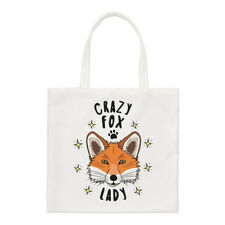 Crazy Fox Lady Stars Small Tote Bag - Funny Animal Shoulder