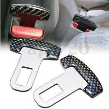 2Pcs Universal Carbon Fiber Car Safty Seat Belt Buckle Alarm Stopper Clip Clamp
