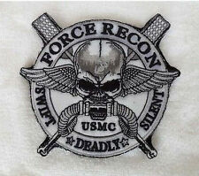 """FORCE RECON .USMC MILITARY MARINE """"SWIFT """"DEADLY"""" SILENT """"Skull   Patch  sh +154"""