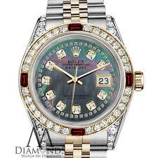 Ladies SS & 18k Rolex 26mm Datejust Black MOP String Dial Ruby & Diamond Watch