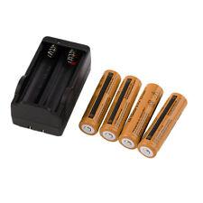 4X 18650 3.7V 9900mAh Recharge Li-ion Battery+Charger For Flashlight Orange F7
