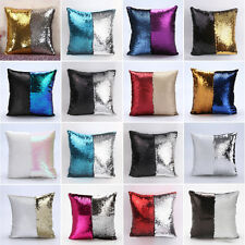 Magic Reversible Mermaid Sequins Glitter Cushion Cover Pillow Case Sofa Decor