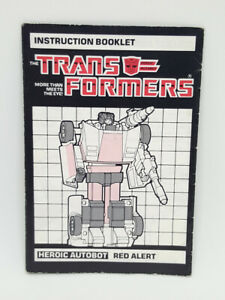 Transformers G1 Vintage RED ALERT Autobot Instruction Manual Booklet 1985 Hasbro