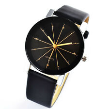 Wrist Watch for Man Casual Black Leather Band Automatic Quartz Boy Child Present