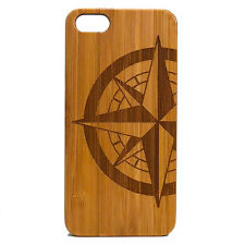 Compass Rose Case for iPhone SE 5 5S Bamboo Wood Cover Navigate Nautic