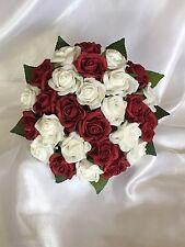 Dark red & white foam rose flowergirl/ bridesmaid flower wedding Bridal Bouquet