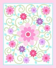 "Dilly Dally Nursery Swirlicious Pink 100% cotton 43"" Fabric by the panel"
